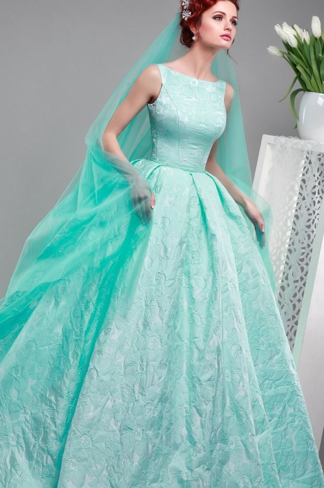 turquoise wedding dress with veil