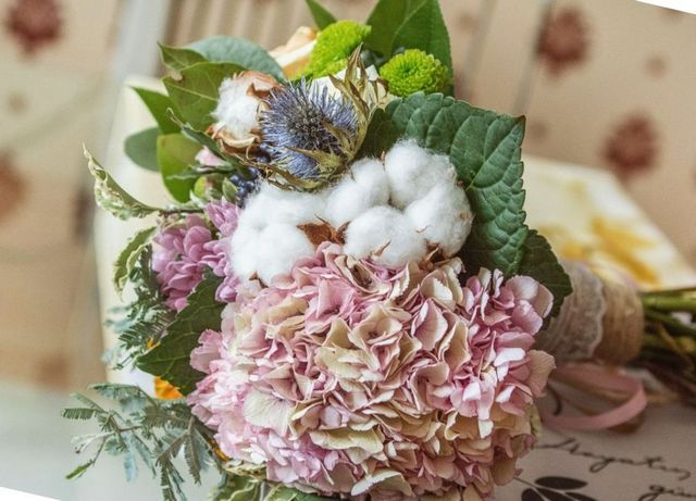 wedding bouquet of hydrangeas