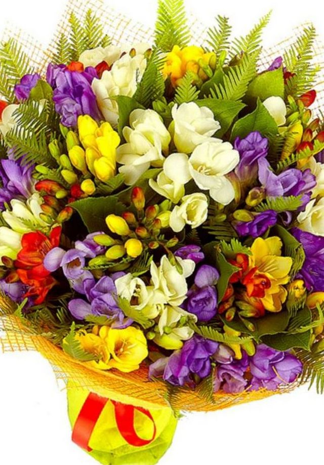 wedding bouquet with freesia