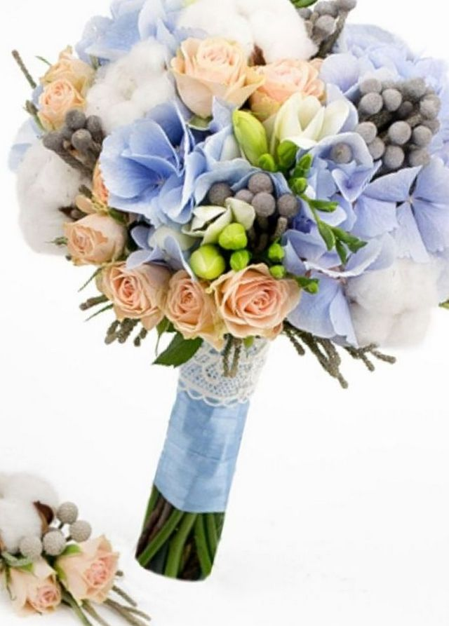 wedding bouquet with hydrangea and rose