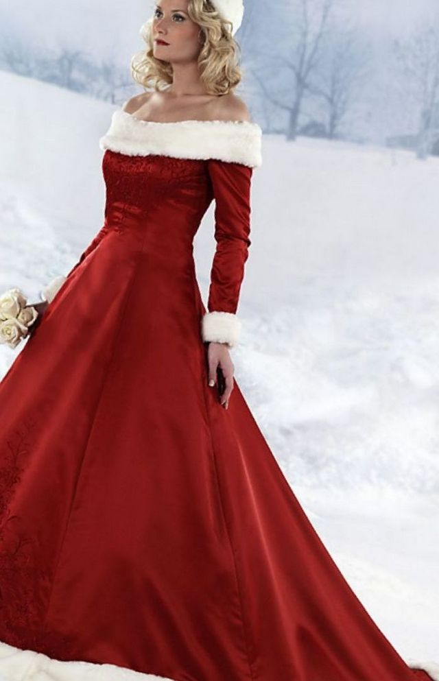wedding red dress for winter wedding