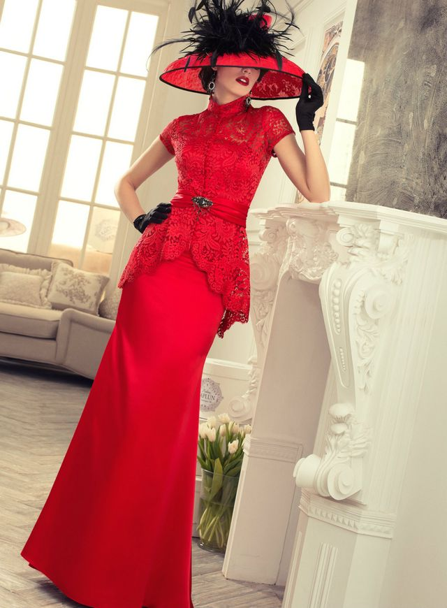 wedding dress red color image
