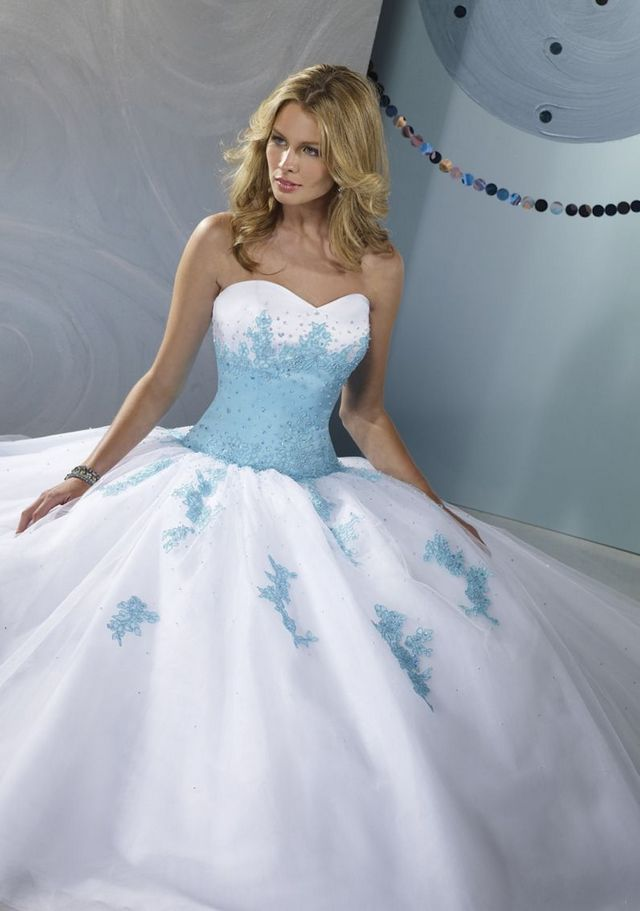 wedding dress with blue elements