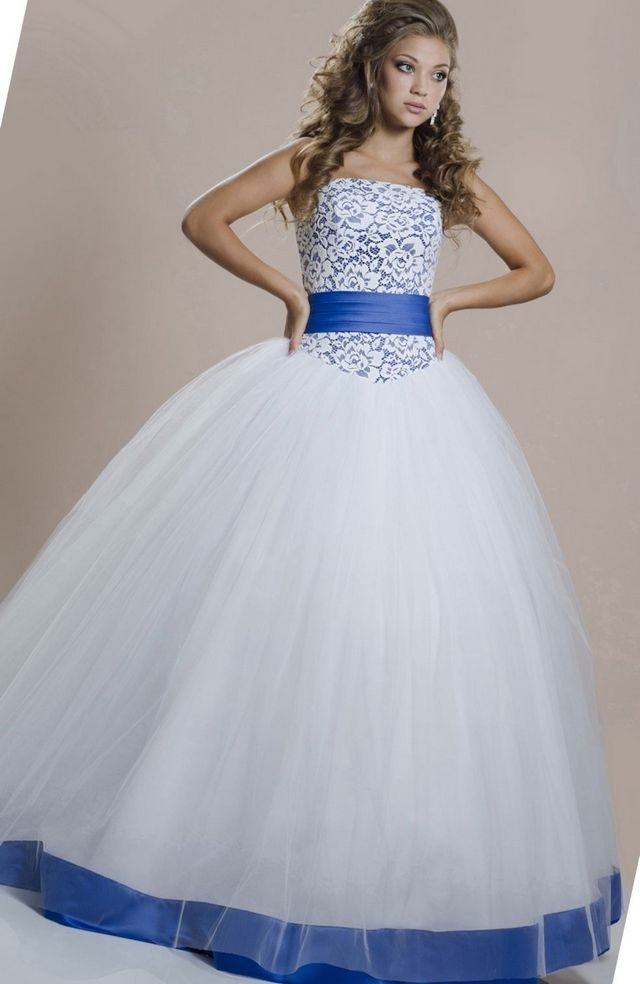 wedding dress with blue ribbon
