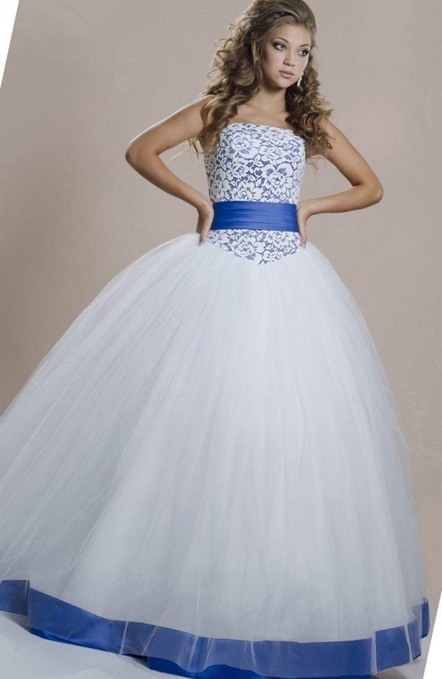 wedding dress with blue ribbon