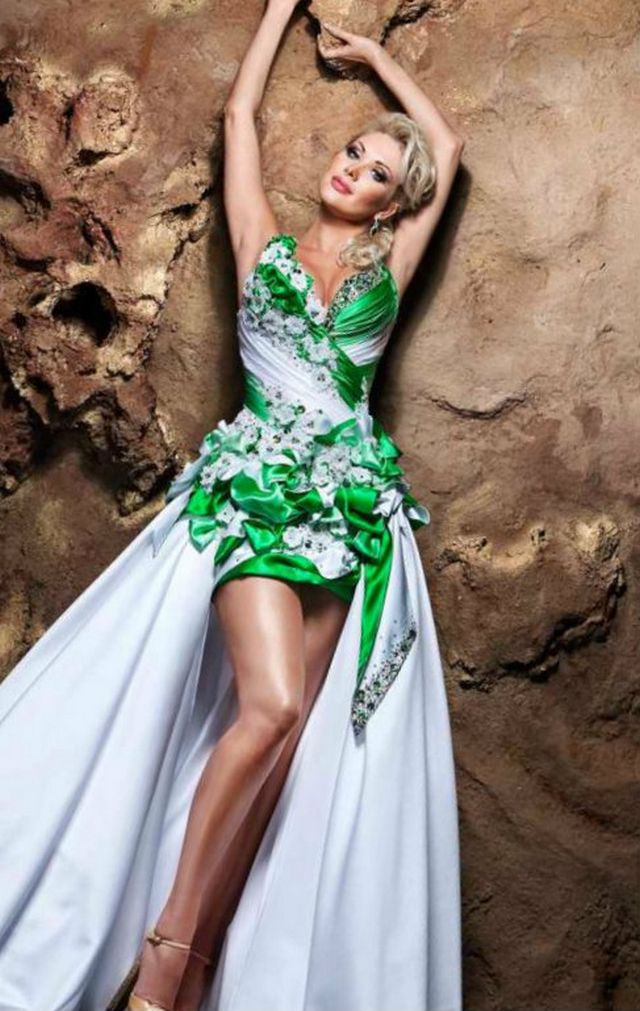 wedding dress with green elements