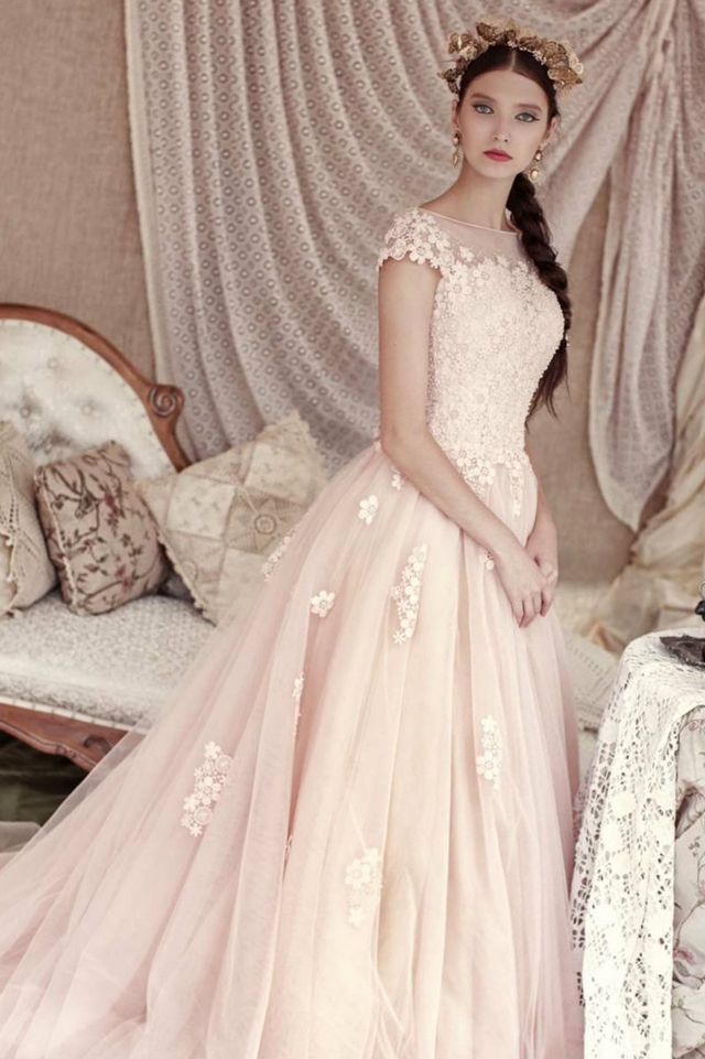 wedding dress with pink elements