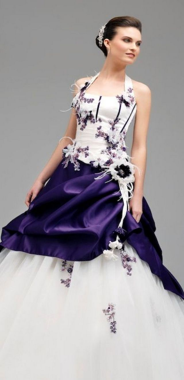 wedding dress with purple elements