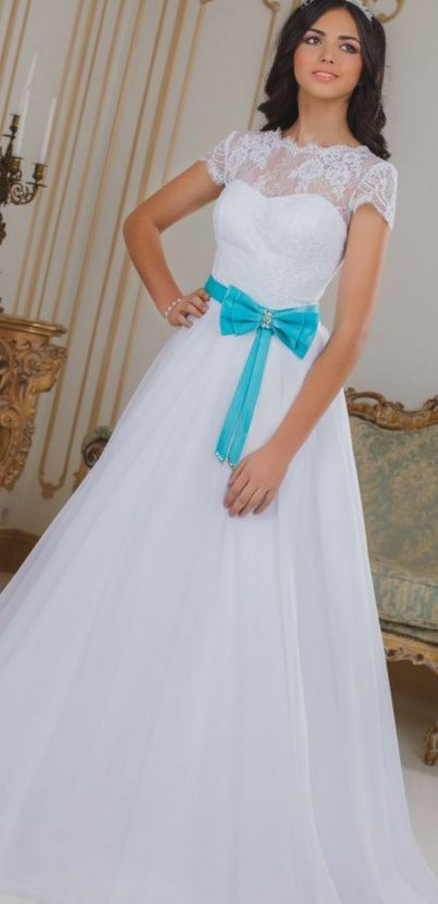 wedding dresses with blue belt
