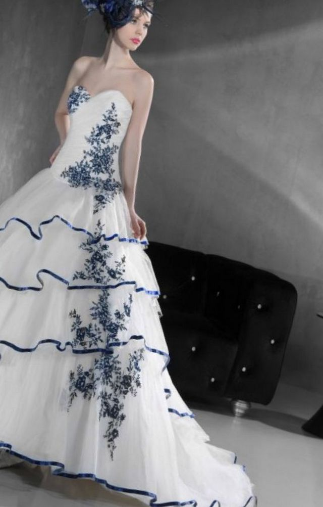 wedding dresses with blue elements
