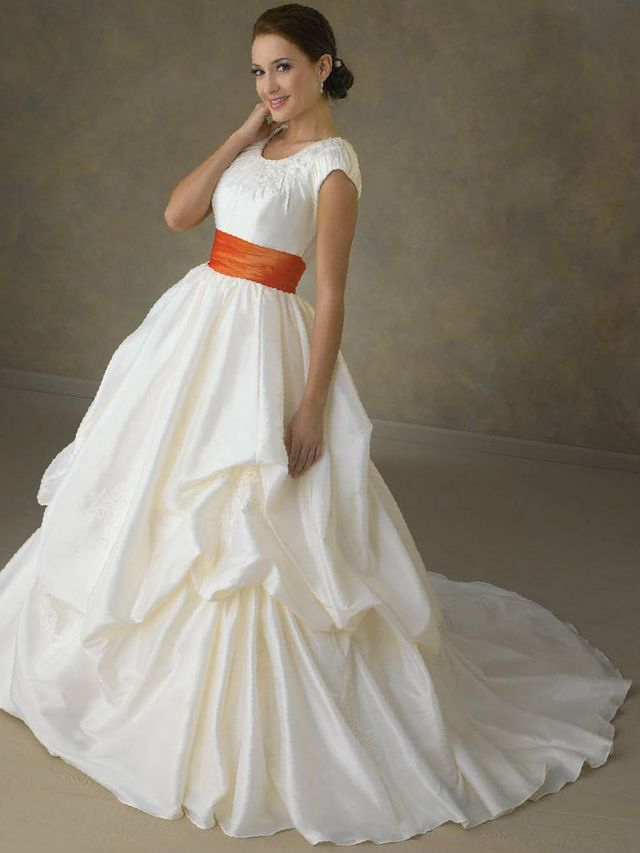 wedding dresses with orange belt image