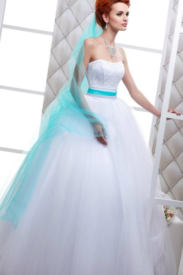wedding dresses with turquoise belt