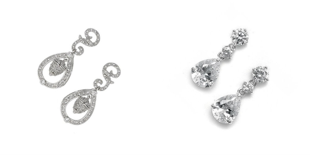 wedding earrings with crystal