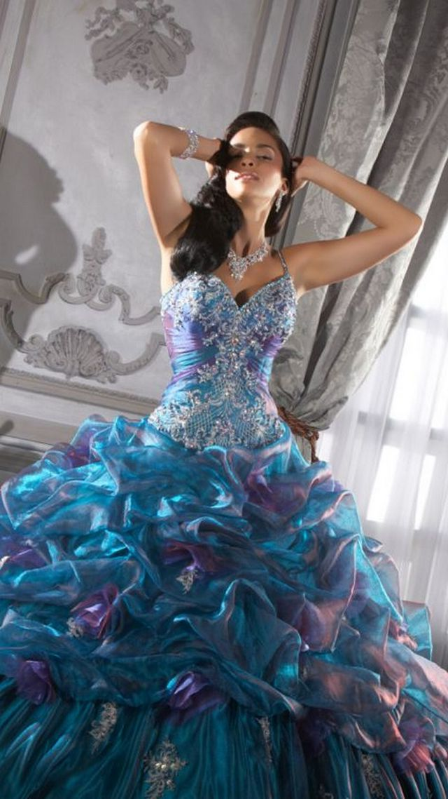 wedding gown blue color