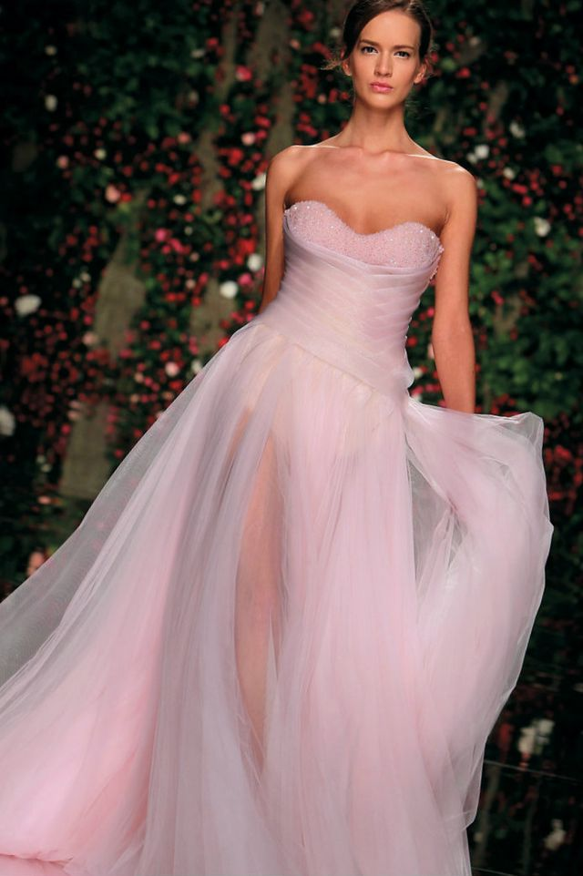 wedding gown pink color photo