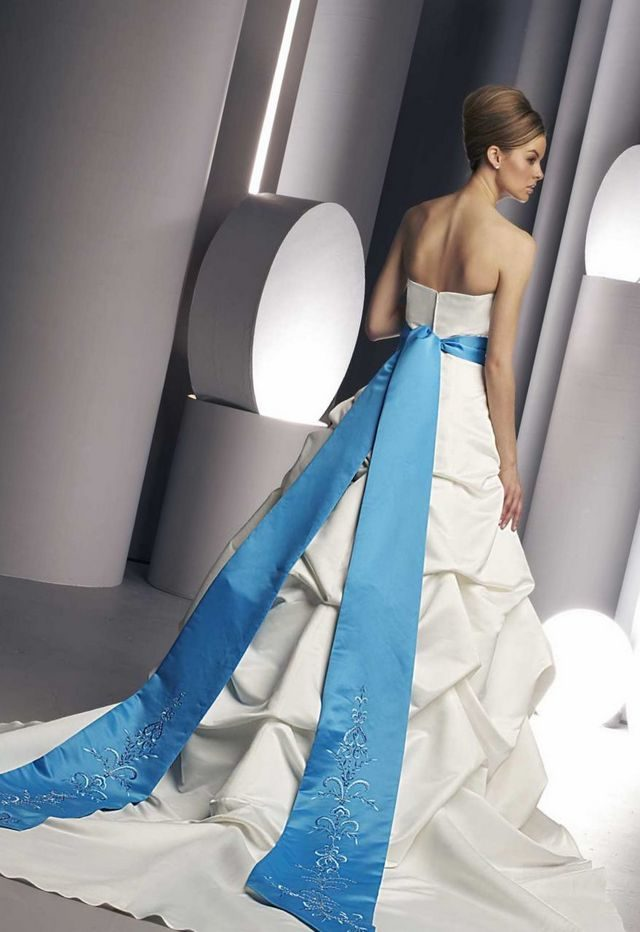wedding gown with blue belt