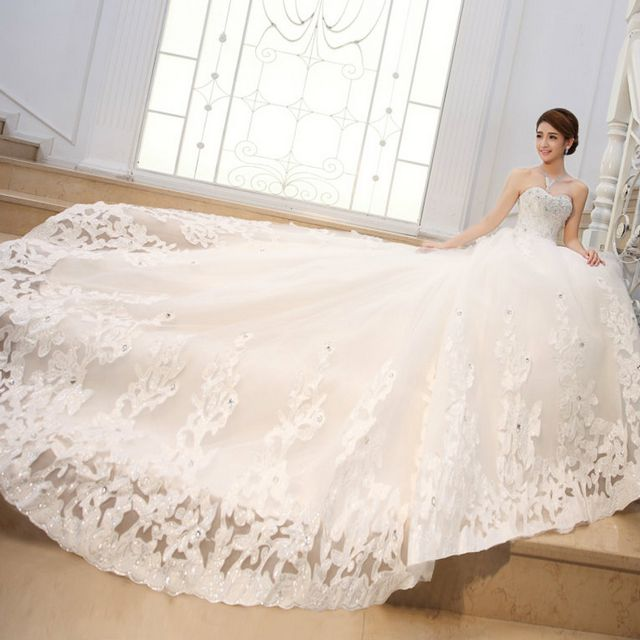 wedding gown with long train