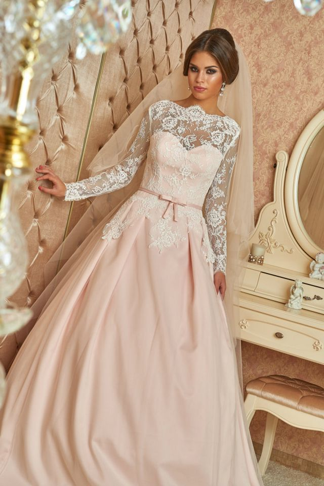 wedding gown with pink belt