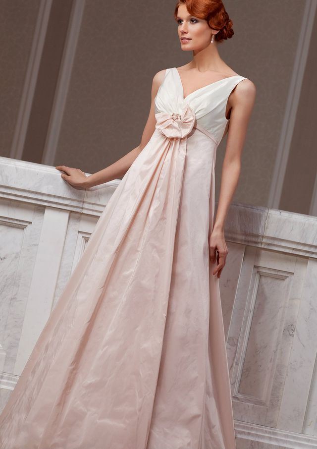 wedding gown with pink elements