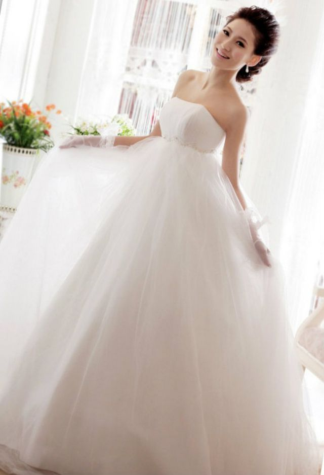 wedding gowns for pregnant bride photo