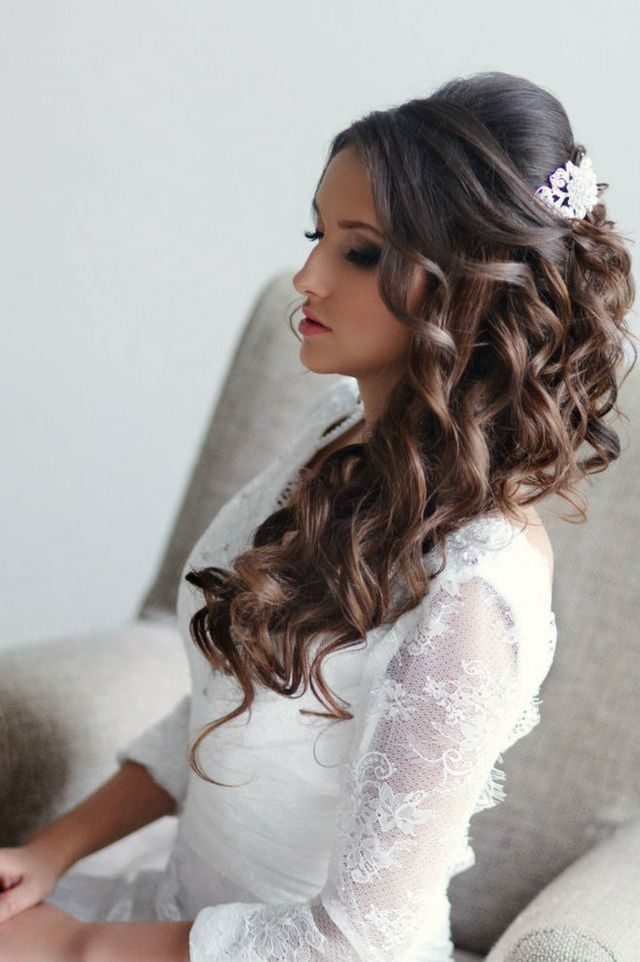wedding hair style for long thick hair
