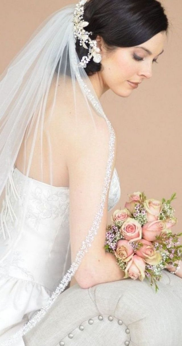 wedding hairstyles with long veil photo