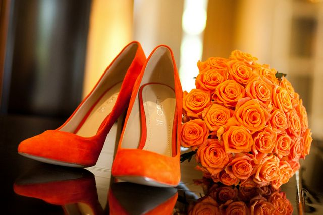 wedding orange shoes and flowers
