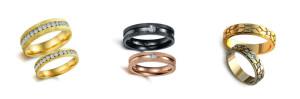 wedding rings brushed gold