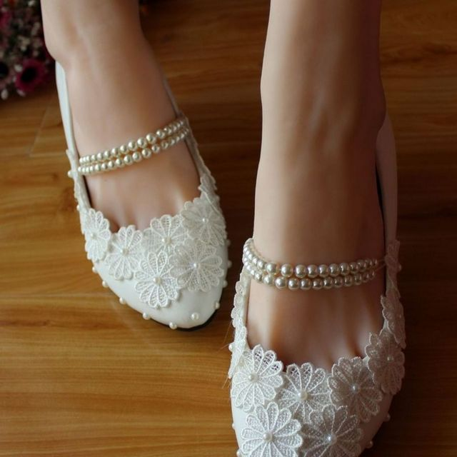 wedding shoes no heel with flowers