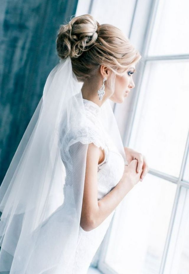 wedding hairstyles hair down long veil