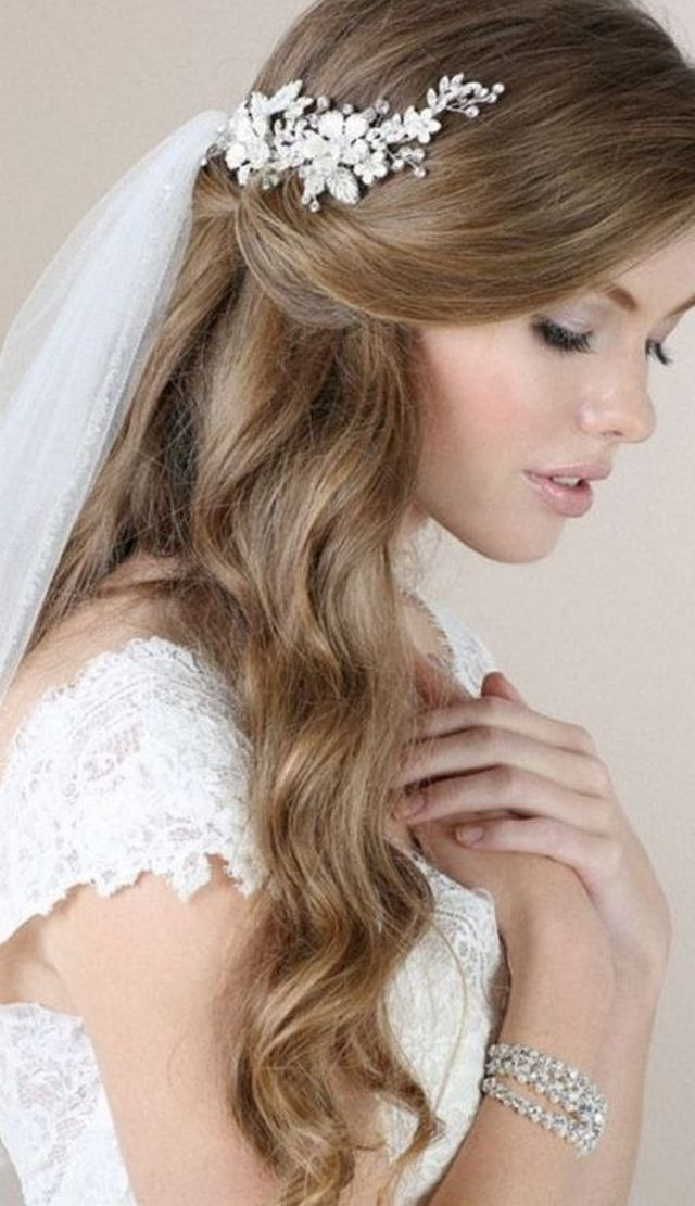 wedding updos with long veil photo