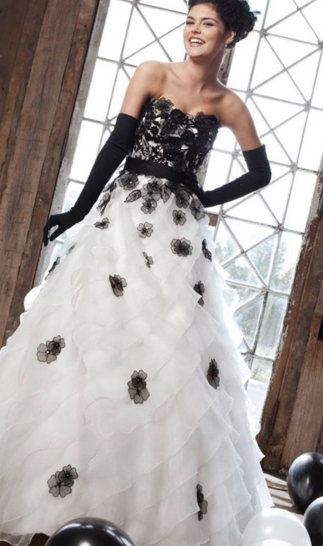 white and black bridal gown