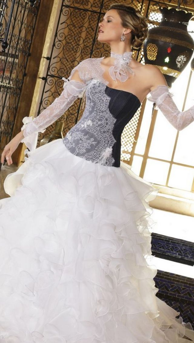 white and black wedding gown