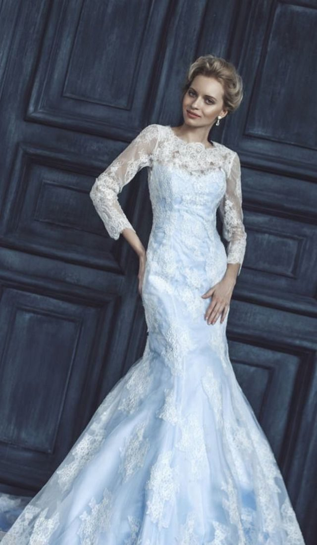 white and blue wedding gown