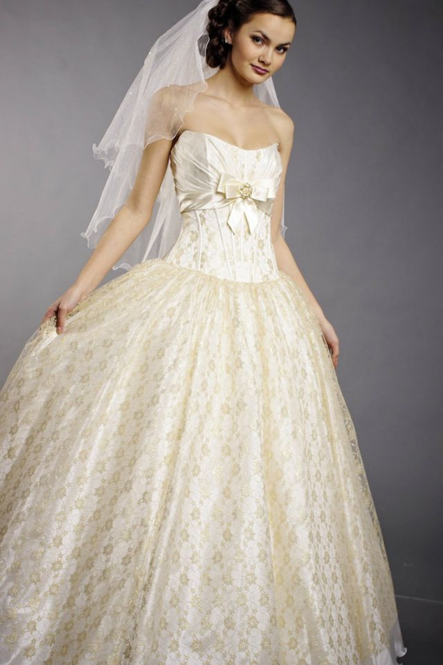 white and gold wedding dresses