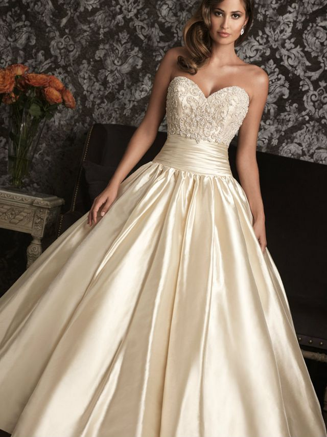 white and gold wedding gown