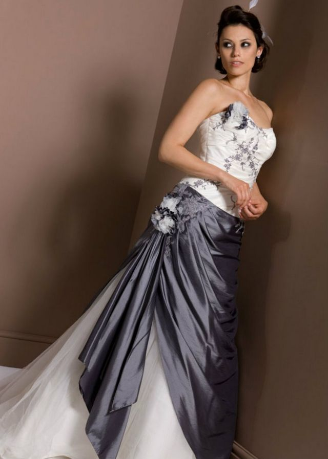 white and gray wedding dress