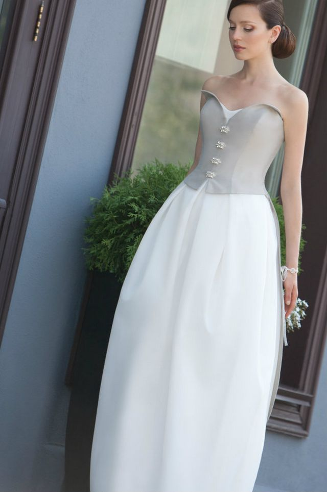 white and grey wedding dress
