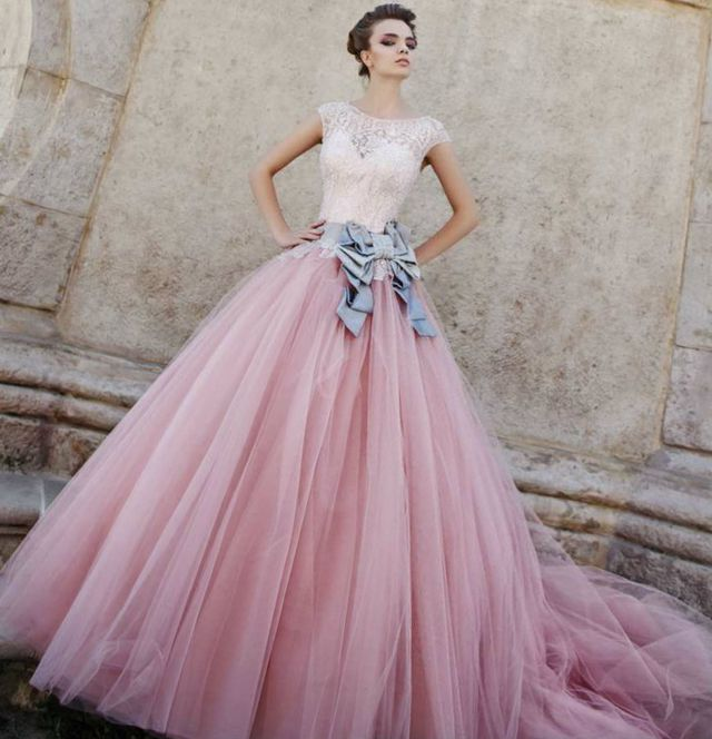white and pink wedding gown