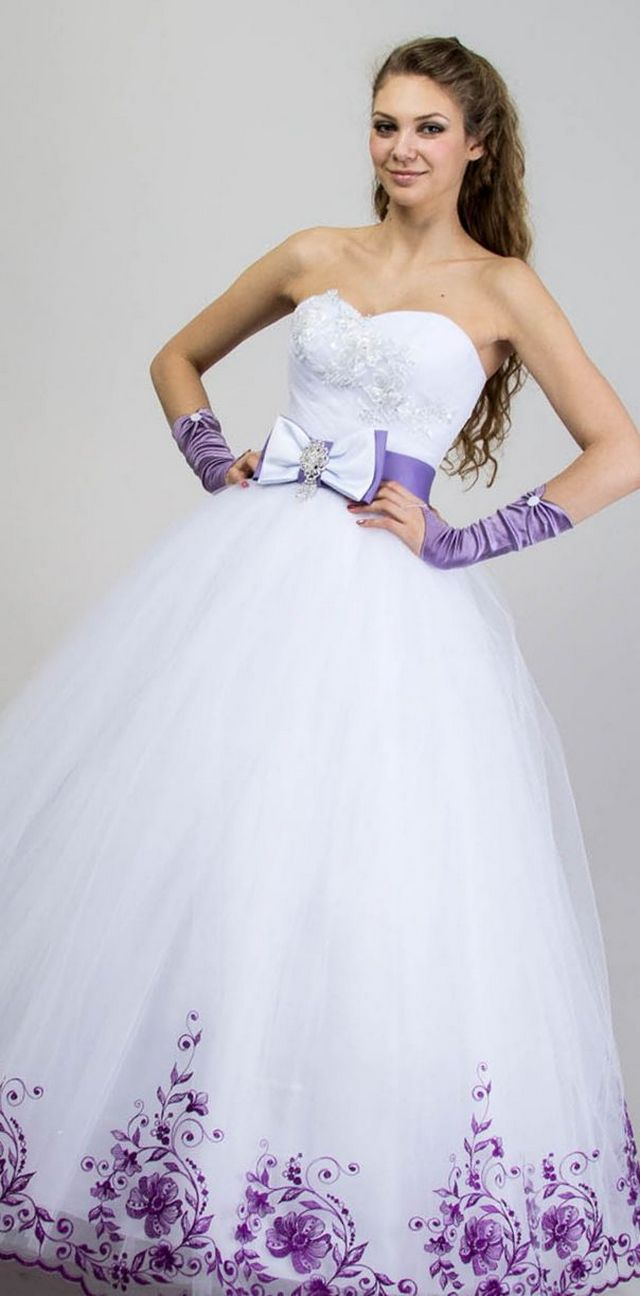 white and purple wedding dresses