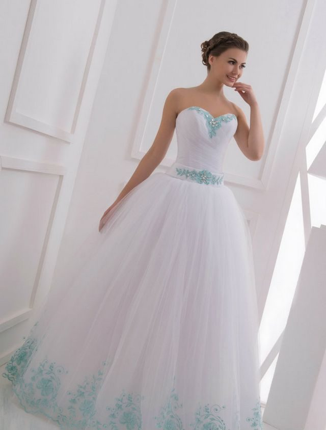 white and turquoise wedding dresses