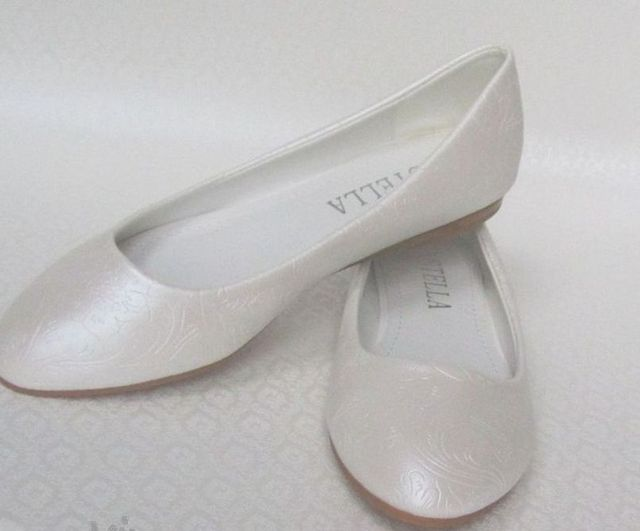 white ballet flats wedding