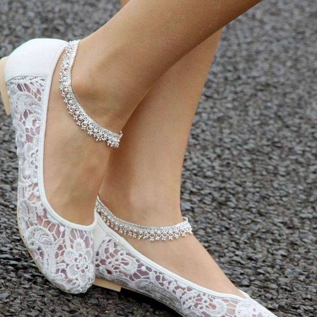 white bridal shoes without heels photo