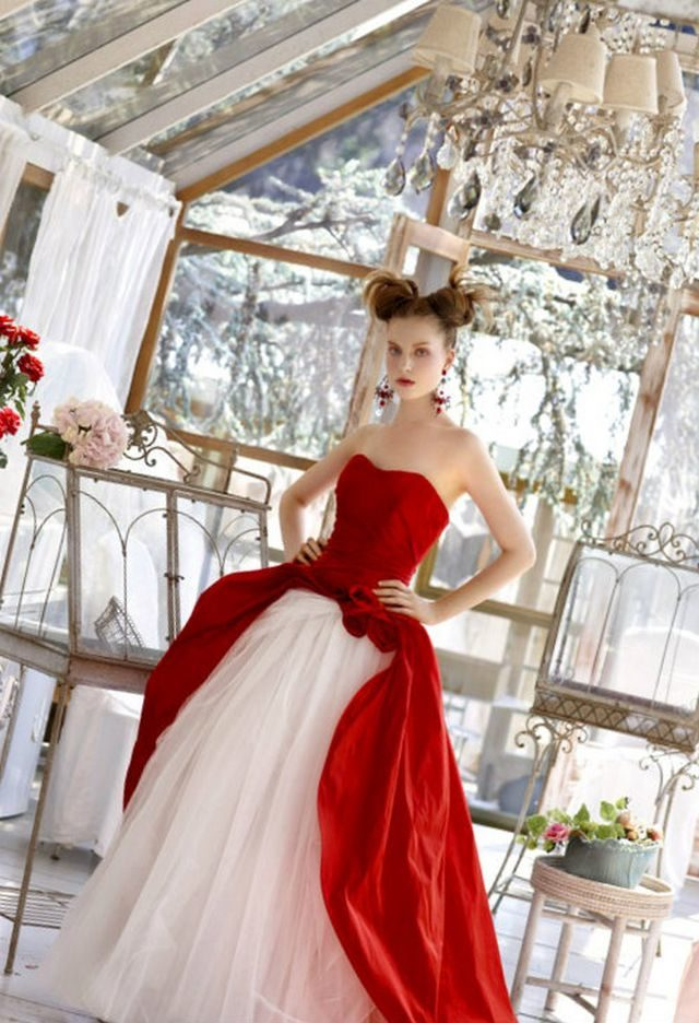 white red wedding dress photo
