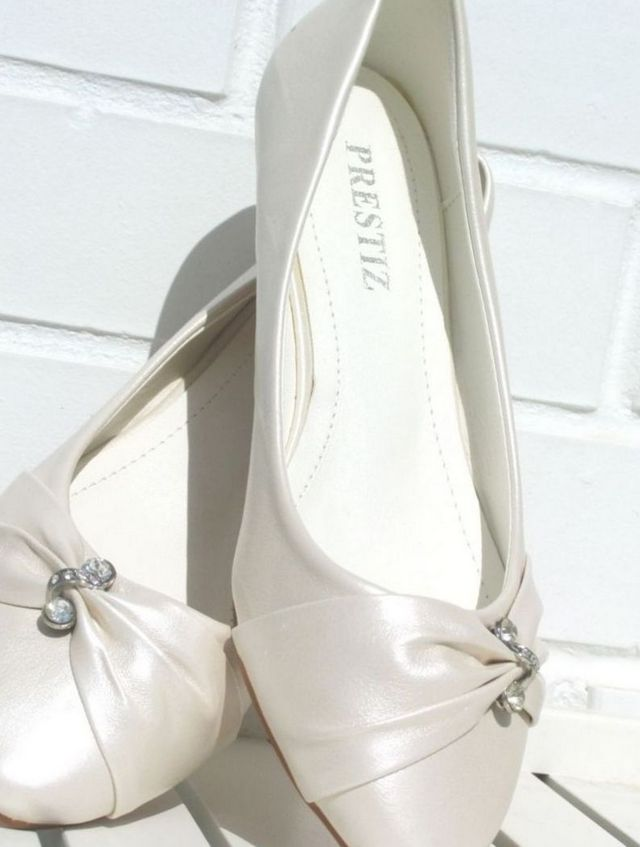 white satin ballet flats wedding