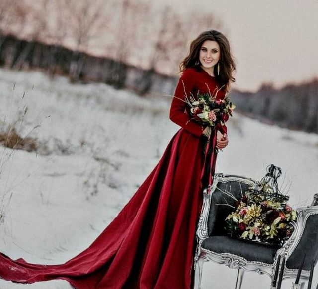 red winter wedding dresses